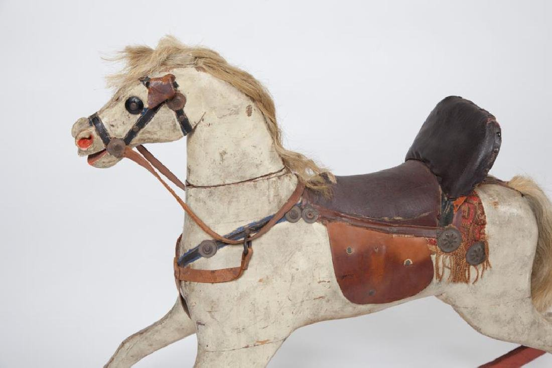 EARLY CARVED AND PAINTED WOOD ROCKING HORSE - 8