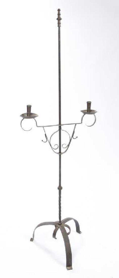 WROUGHT IRON AND BRASS FLOOR CANDLESTAND