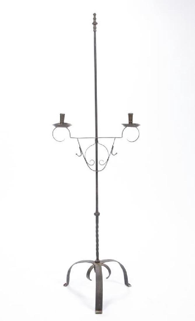 WROUGHT IRON AND BRASS FLOOR CANDLESTAND - 3