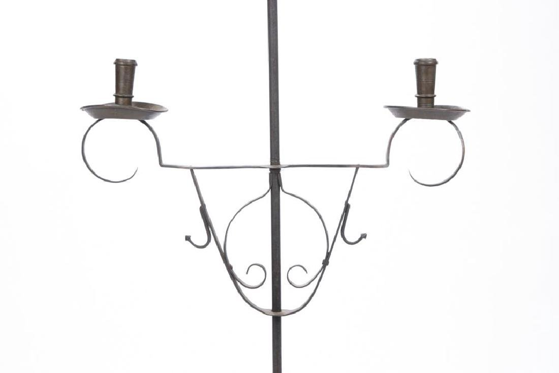 WROUGHT IRON AND BRASS FLOOR CANDLESTAND - 5