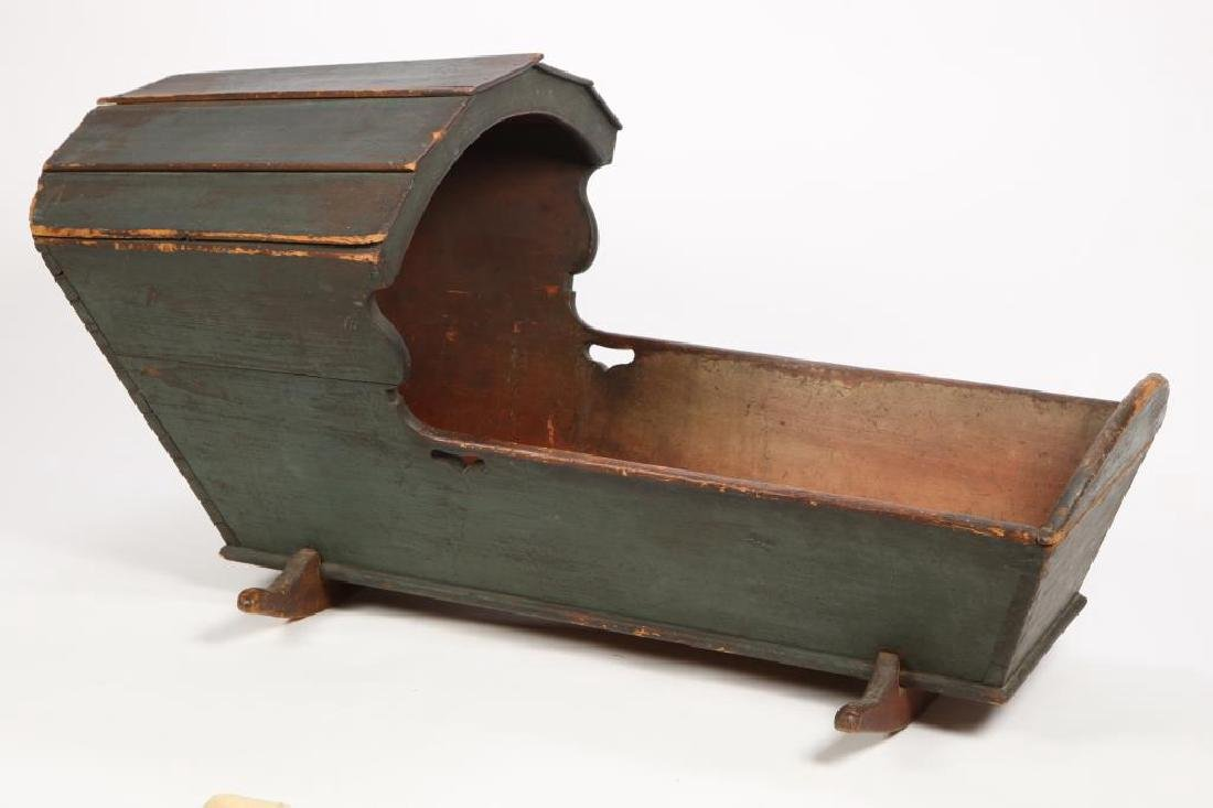 (18th /19th c) HOODED CRADLE in EARLY PAINT