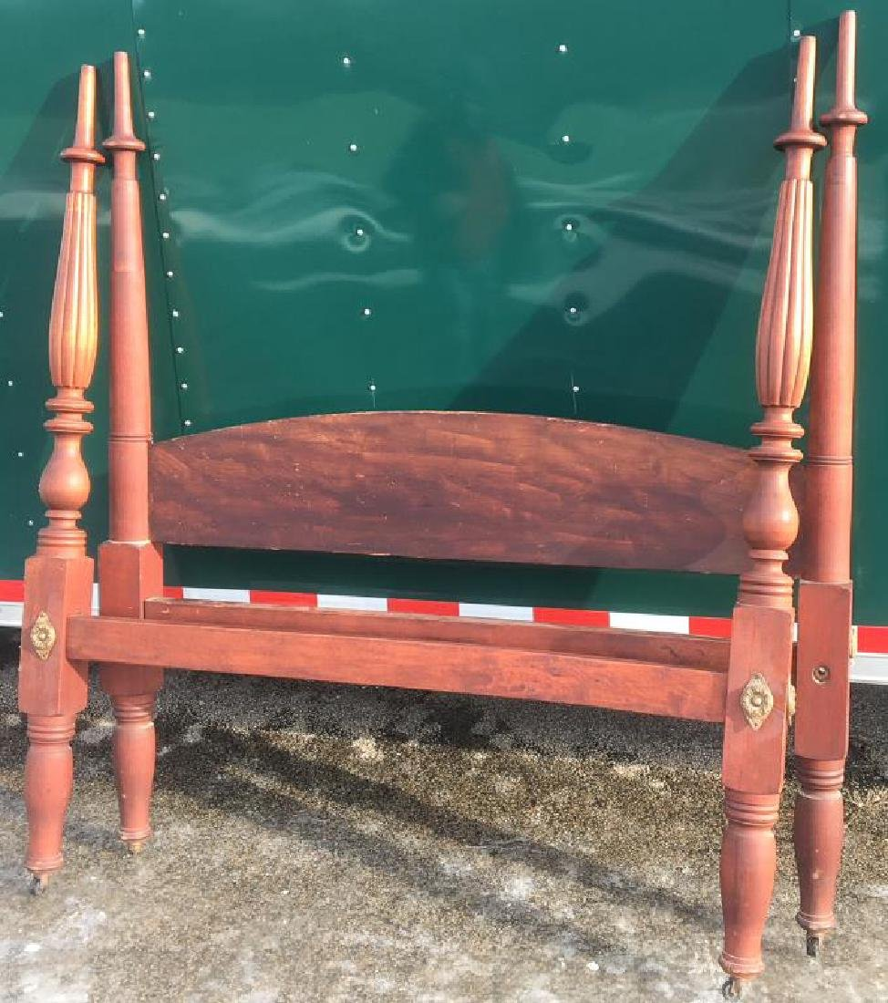 COUNTRY SHERATON MAPLE BED in RED WASH