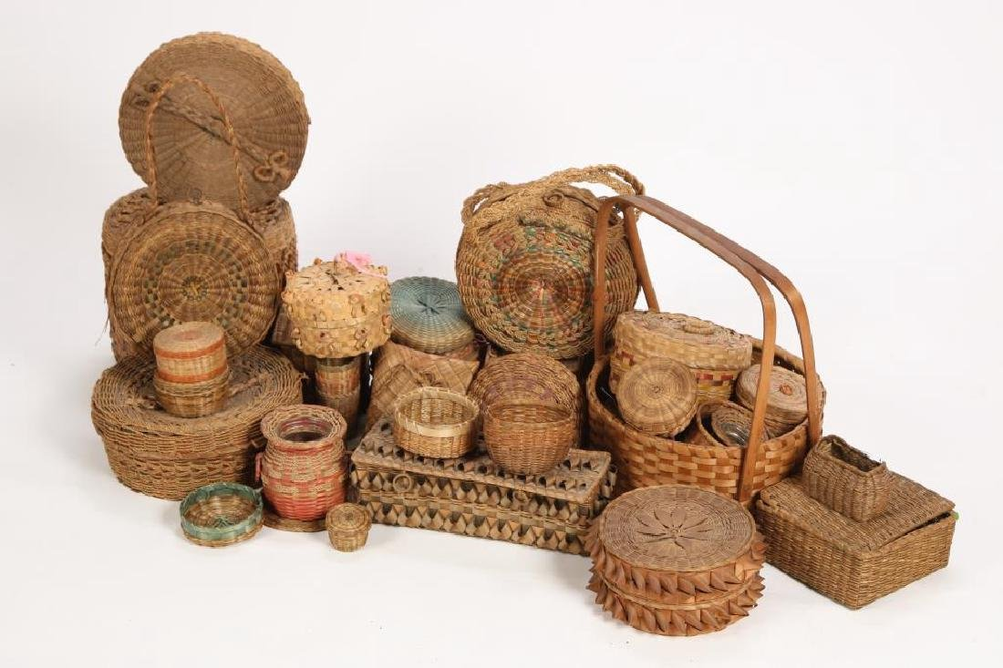 LARGE COLLECTION OF NATIVE AMERICAN BASKETS ETC