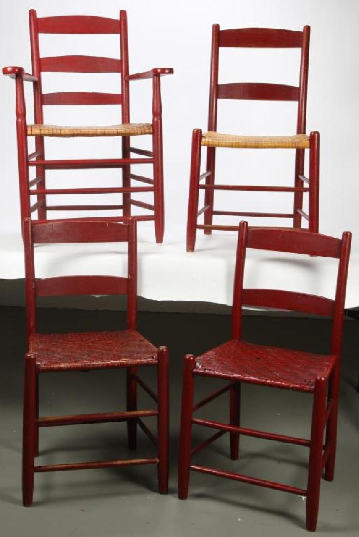 (4) RUSTIC LADDER BACK CHAIRS IN RED PAINT