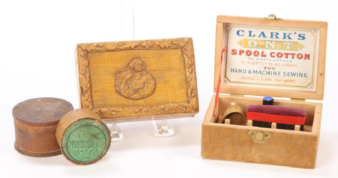 PAPER MACHE, CLARKS SPOOLS BOX & (2) CANNISTERS