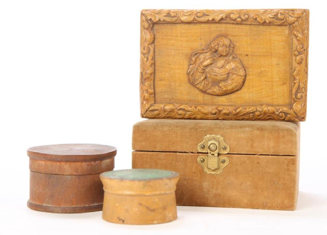 PAPER MACHE, CLARKS SPOOLS BOX & (2) CANNISTERS - 2