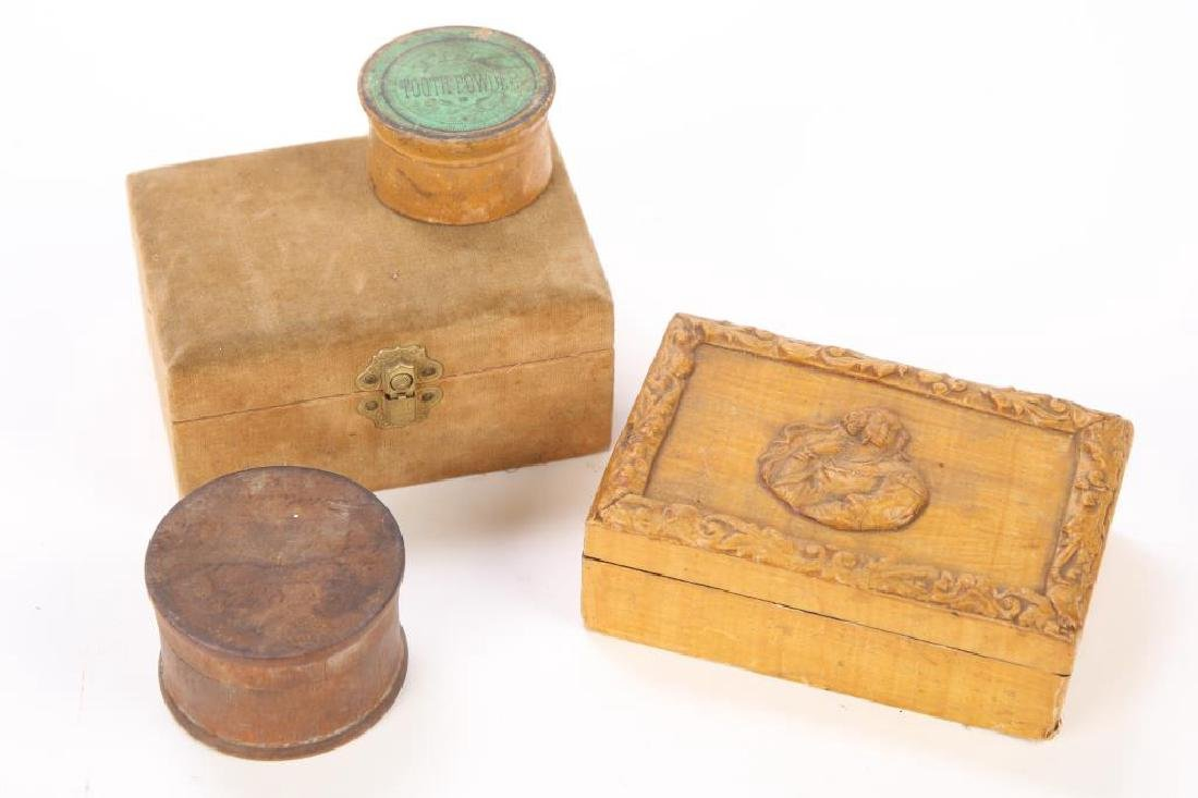 PAPER MACHE, CLARKS SPOOLS BOX & (2) CANNISTERS - 4