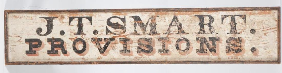 EARLY (19th c) J.T. SMART PROVISIONS NH TRADE SIGN