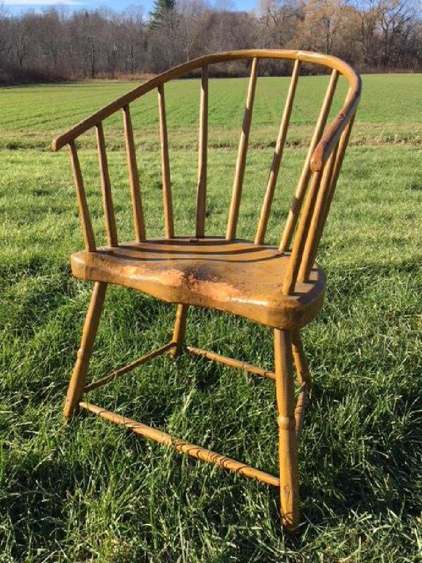 LOW BOW BACK WINDSOR CHAIR IN MUSTARD PAINT