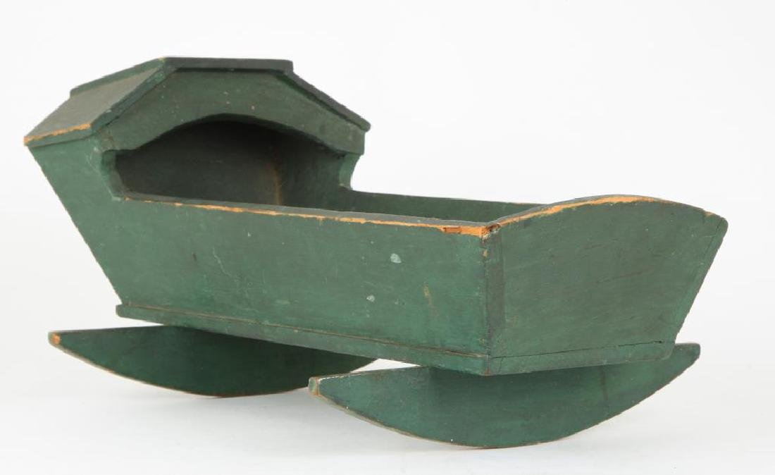 HOODED DOLL'S CRADLE IN GREEN PAINT