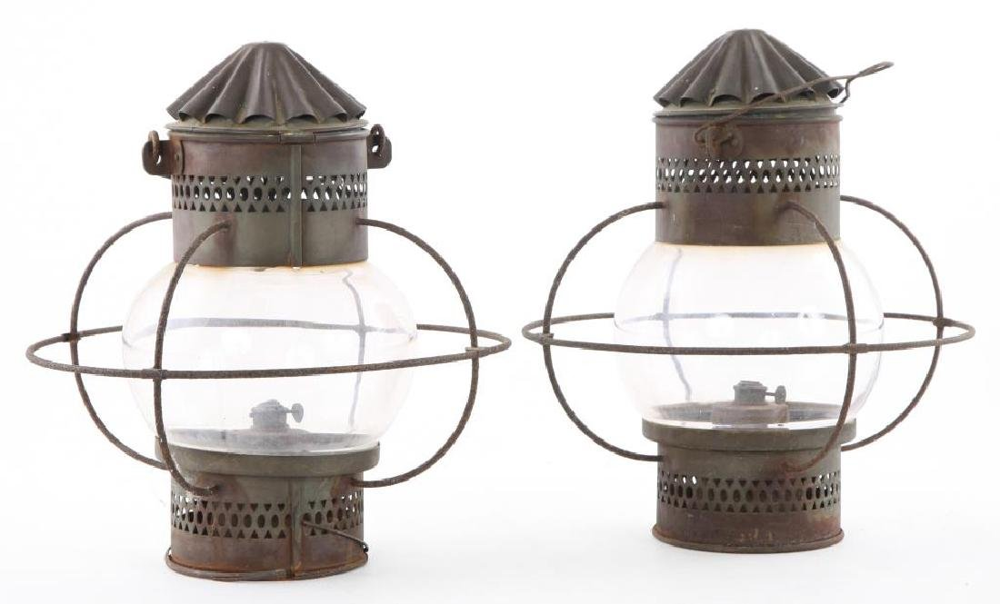 "PAIR OF COPPER ""ONION"" LANTERNS with WIRE GUARDS"
