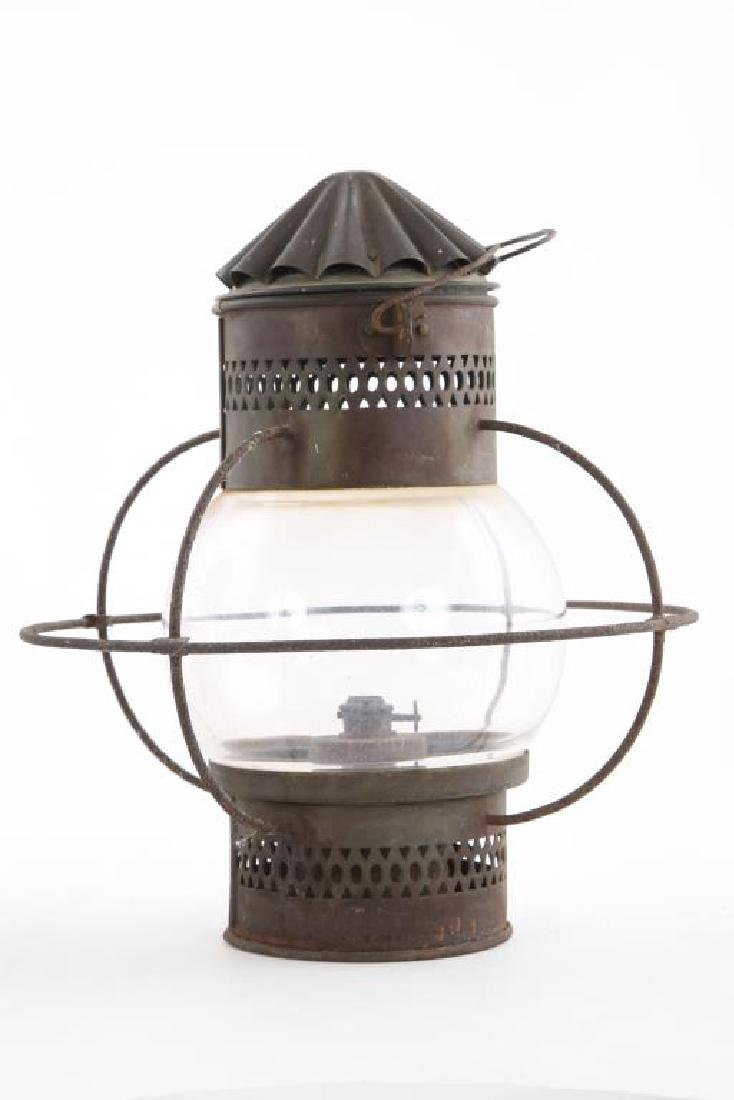 "PAIR OF COPPER ""ONION"" LANTERNS with WIRE GUARDS - 4"