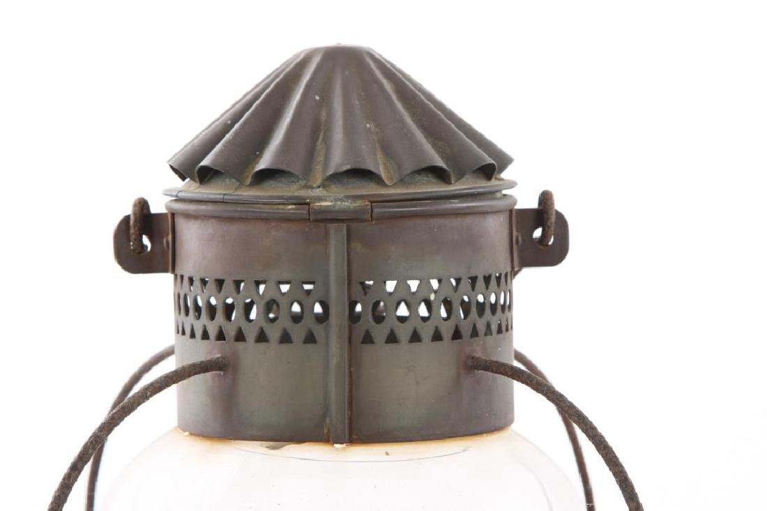 "PAIR OF COPPER ""ONION"" LANTERNS with WIRE GUARDS - 5"