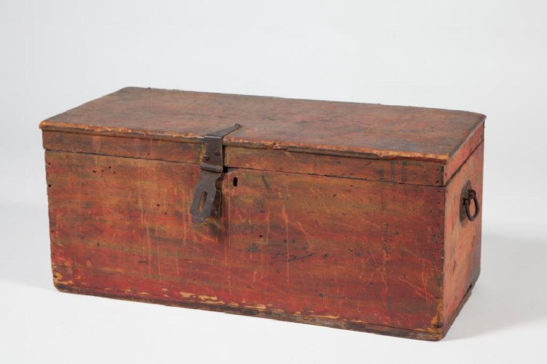 (19th c) WOODEN CHEST in RED PAINT