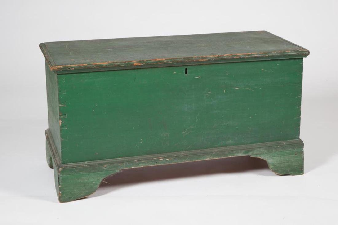215(18th c) BLANKET CHEST in GREEN PAINT with TILL