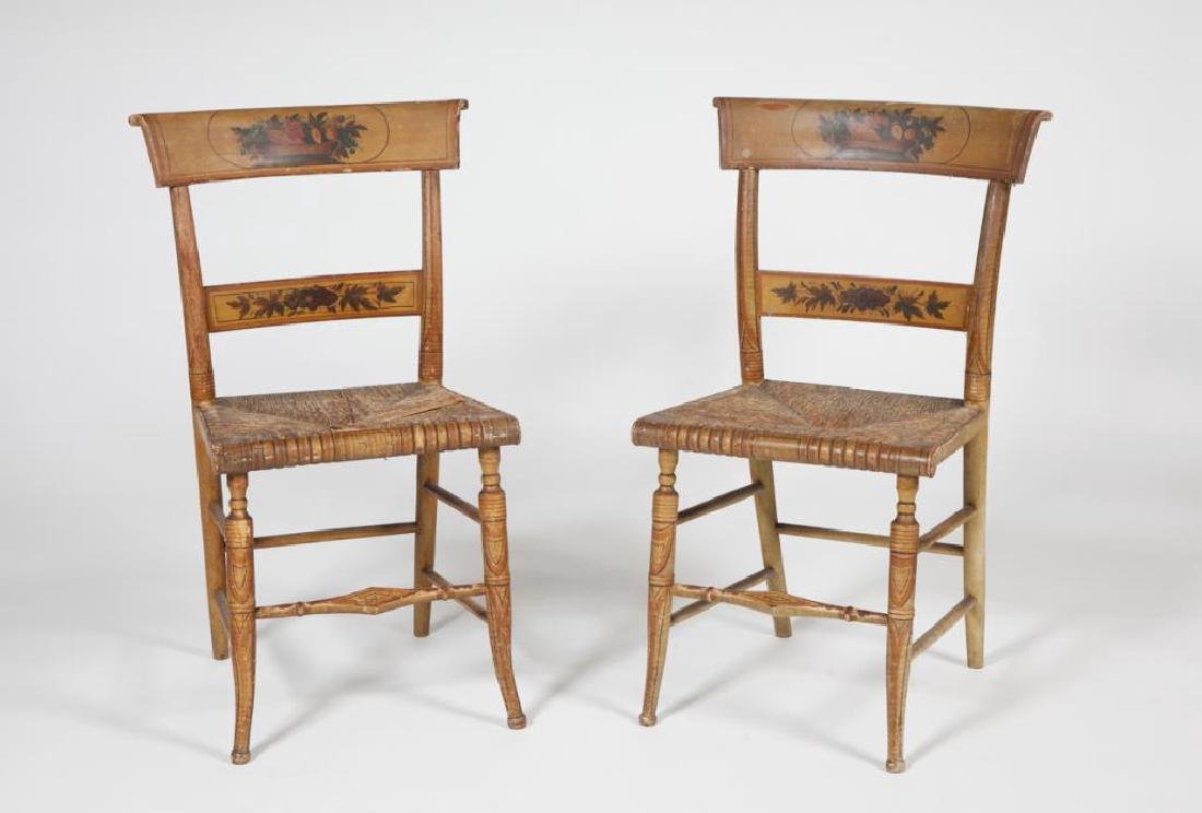 PAIR OF FINELY PAINTED HITCHOCK SIDE CHAIRS