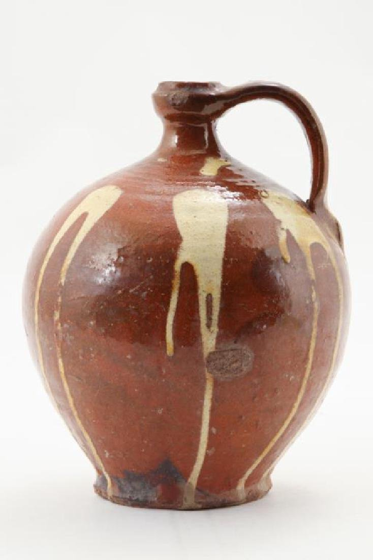 REDWARE JUG with DRIPPED YELLOW SLIP