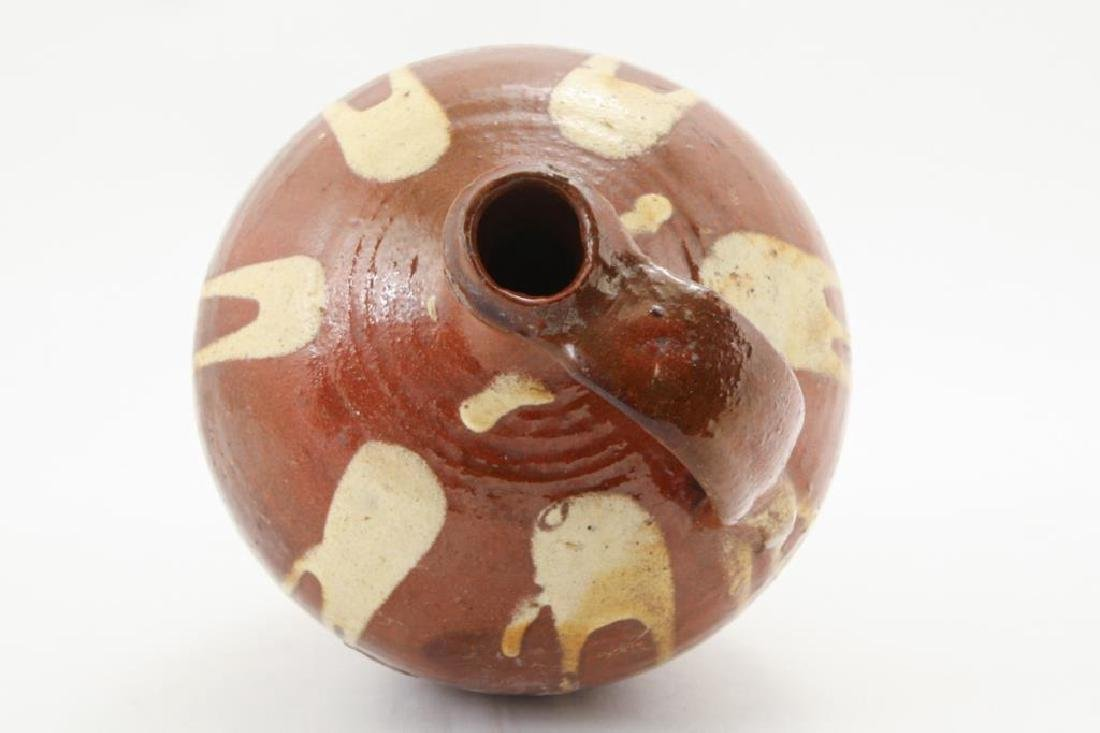 REDWARE JUG with DRIPPED YELLOW SLIP - 2