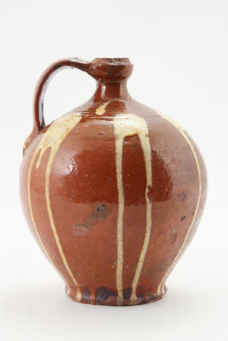 REDWARE JUG with DRIPPED YELLOW SLIP - 4