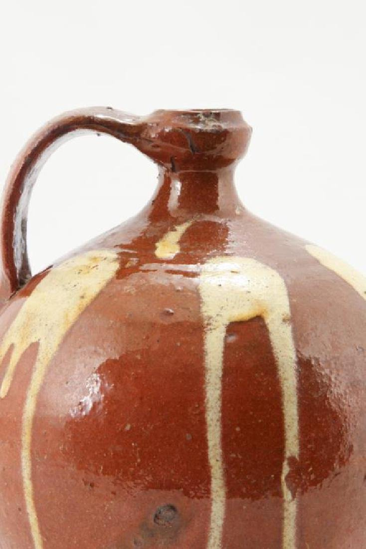 REDWARE JUG with DRIPPED YELLOW SLIP - 5
