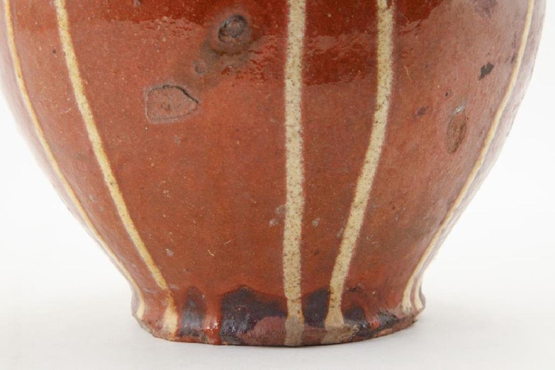 REDWARE JUG with DRIPPED YELLOW SLIP - 6