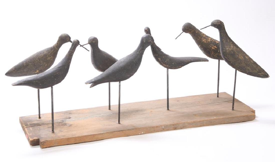 ASSEMBLED RIG OF (7) EARLY YELLOWLEG DECOYS
