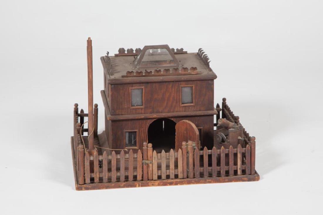 FOLK ART HOUSE with FENCE, FLAG POLL & CANON - 5