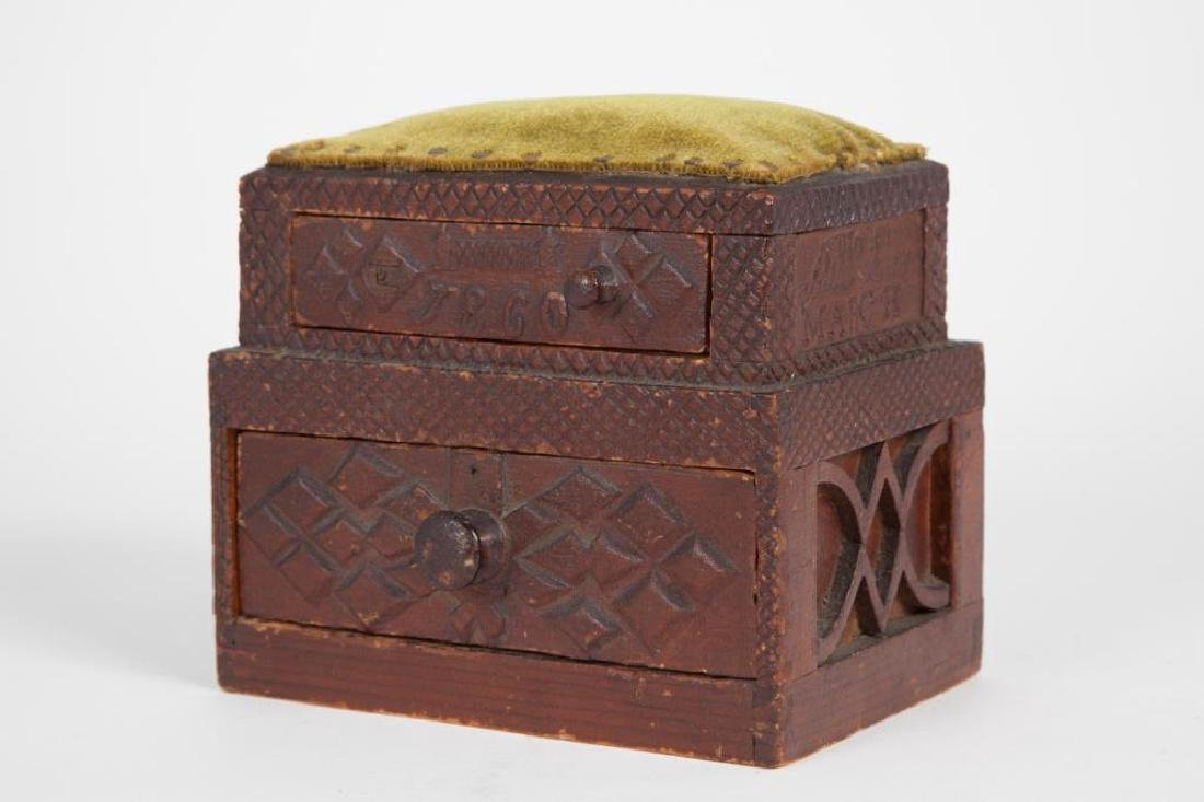 (2) TIERED CHIP CARVED FOLK ART SEWING BOX