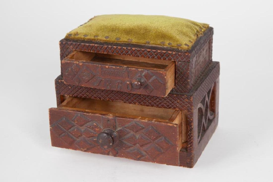 (2) TIERED CHIP CARVED FOLK ART SEWING BOX - 2