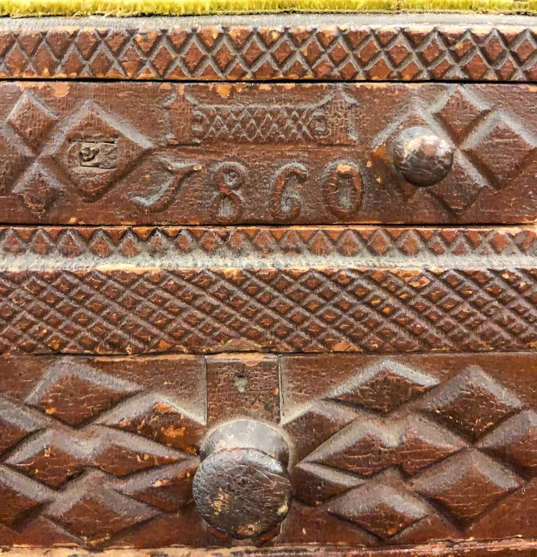 (2) TIERED CHIP CARVED FOLK ART SEWING BOX - 3