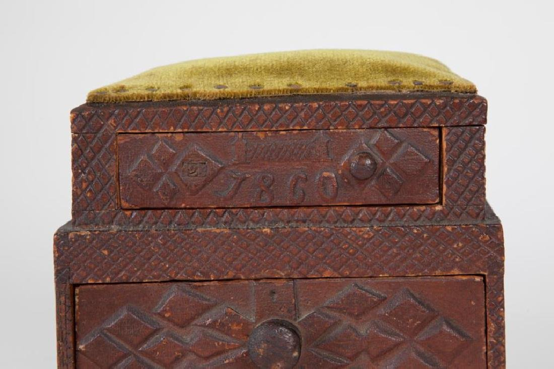 (2) TIERED CHIP CARVED FOLK ART SEWING BOX - 4