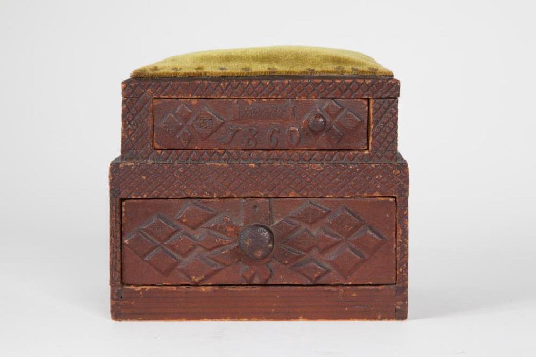 (2) TIERED CHIP CARVED FOLK ART SEWING BOX - 5