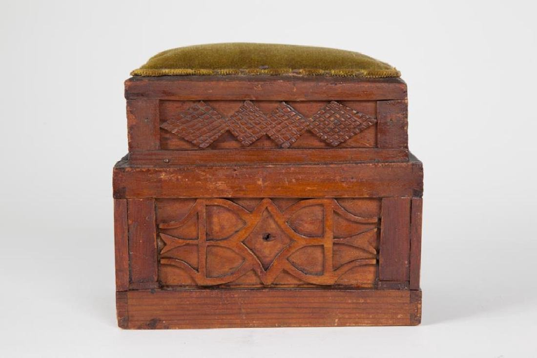 (2) TIERED CHIP CARVED FOLK ART SEWING BOX - 7