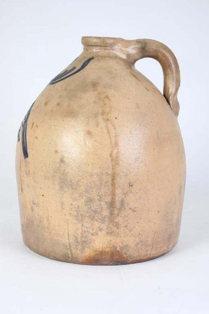COBALT DECORATED SALT GLAZED STONEWARE JUG - 5