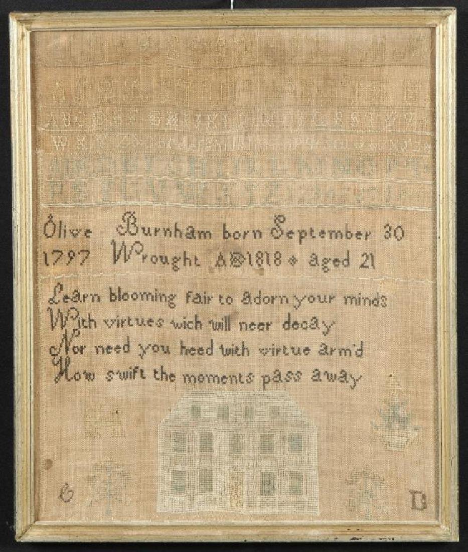 1818 SAMPLER by OLIVE BURNHAM / IPSWICH FAMILY