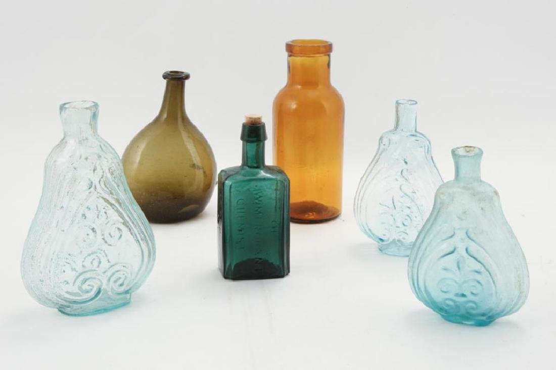 (6) BLOWN and BLOWN MOLDED GLASS BOTTLES
