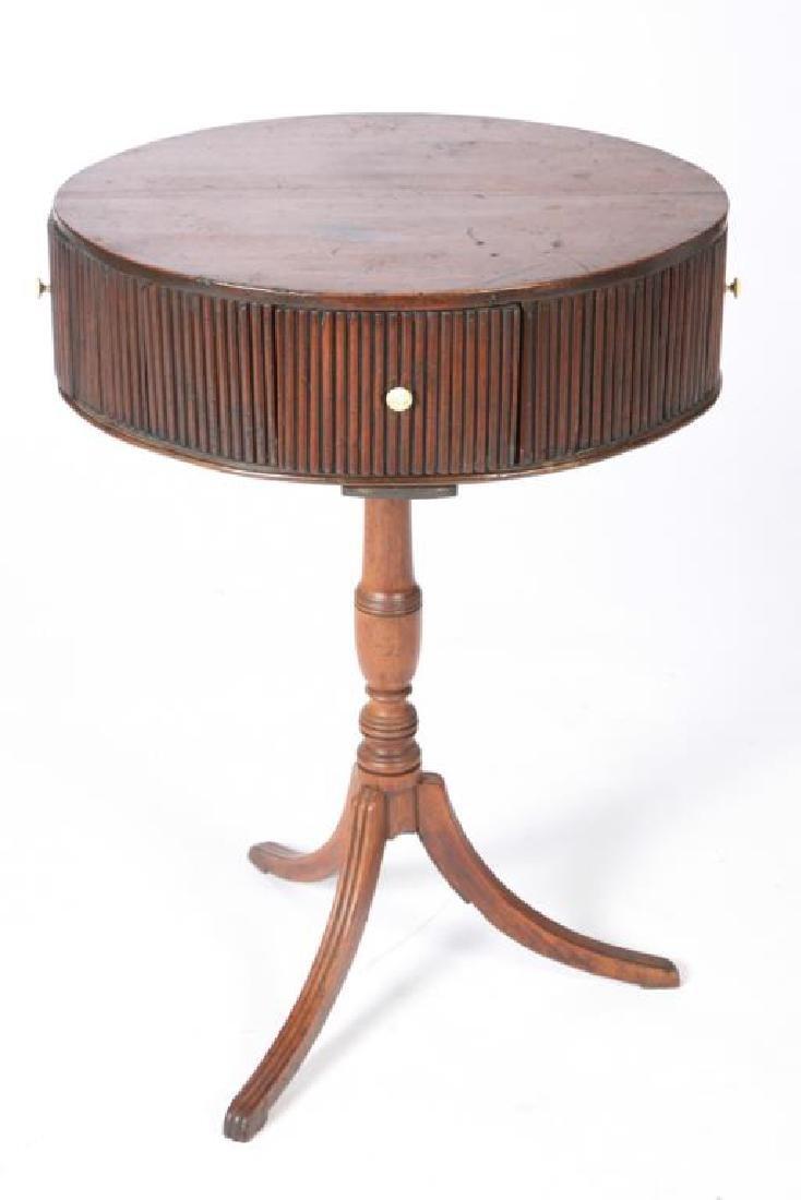 (19th c) OVAL MAHOGANY DRUM TABLE