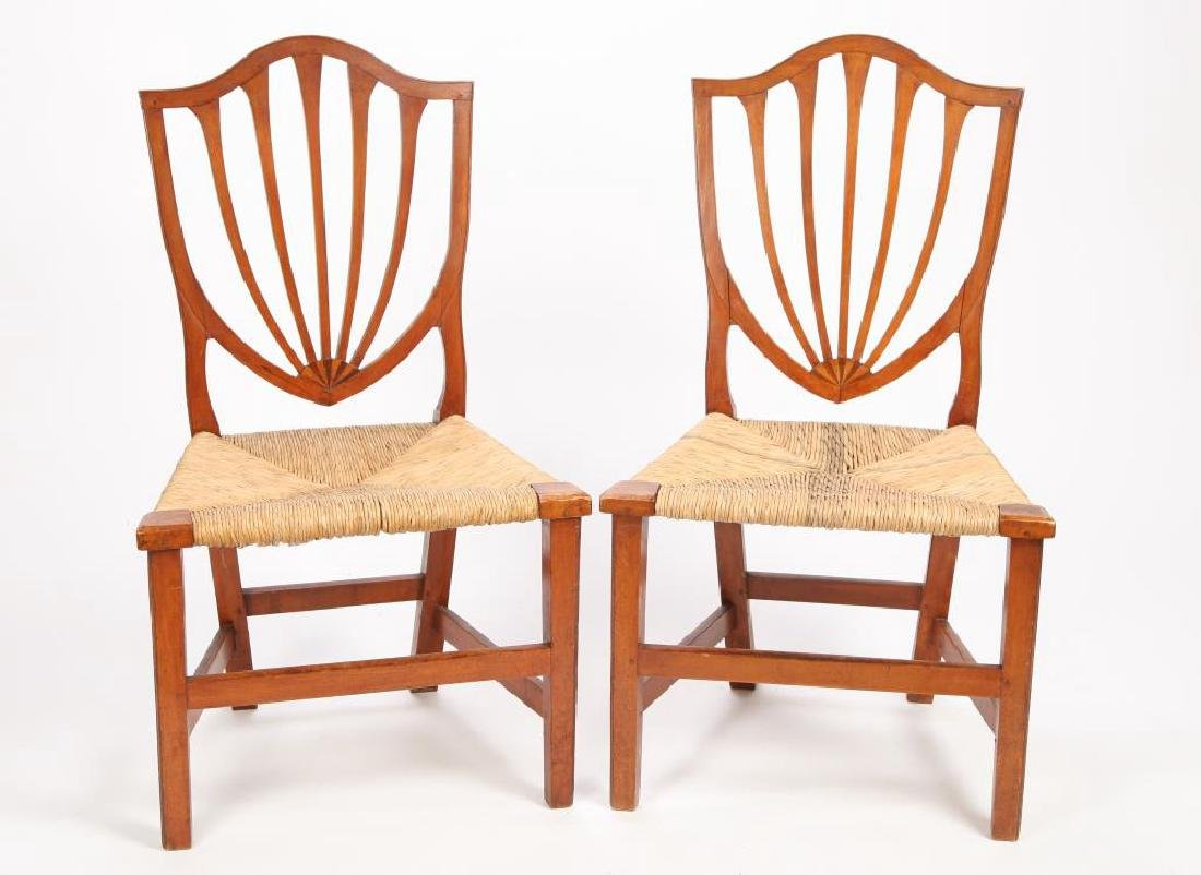 PAIR OF FEDERAL PERIOD SHIELD BACK SIDE CHAIRS