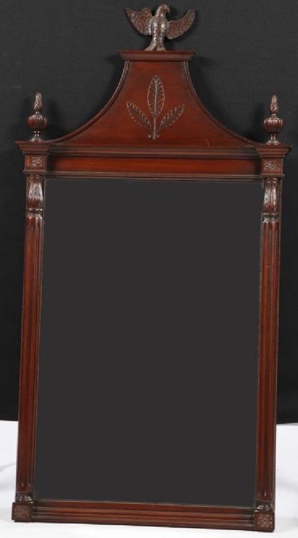 BENCH MADE MAHOGANY HALL MIRROR with CARVED EAGLE
