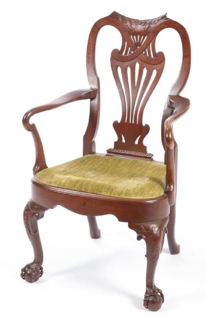 FINELY CARVED CENTENNIAL MAHOGANY ARMCHAIR