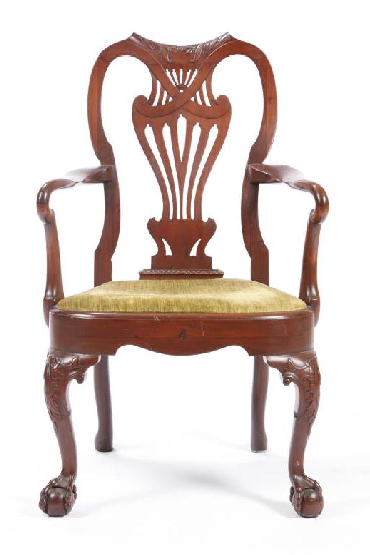 FINELY CARVED CENTENNIAL MAHOGANY ARMCHAIR - 7