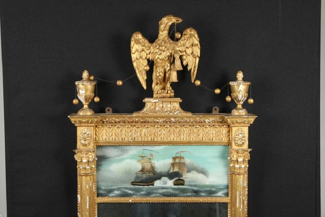 (19th c) SHERATON LOOKING GLASS with CARVED EAGLE - 2