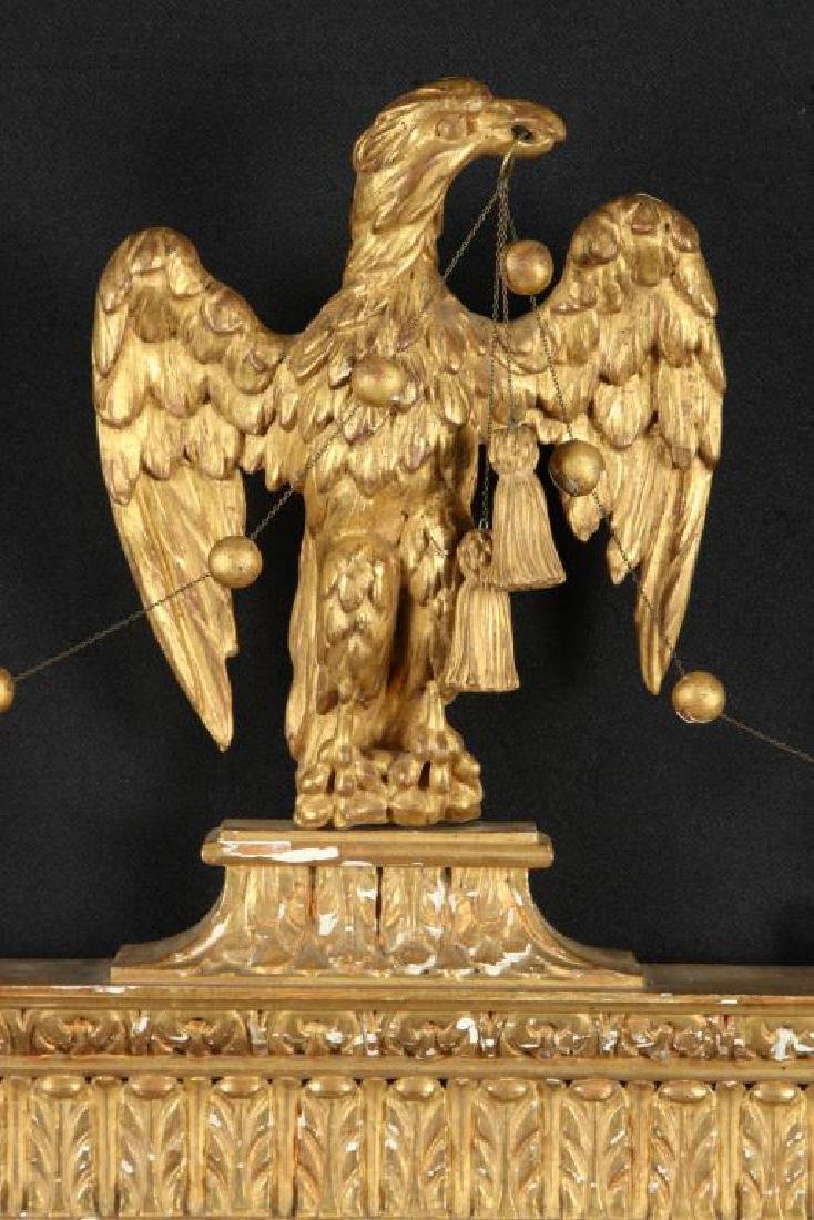 (19th c) SHERATON LOOKING GLASS with CARVED EAGLE - 3