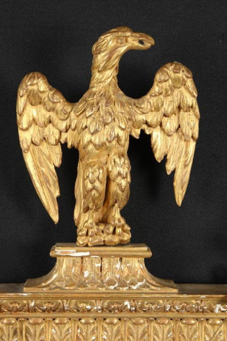 (19th c) SHERATON LOOKING GLASS with CARVED EAGLE - 9