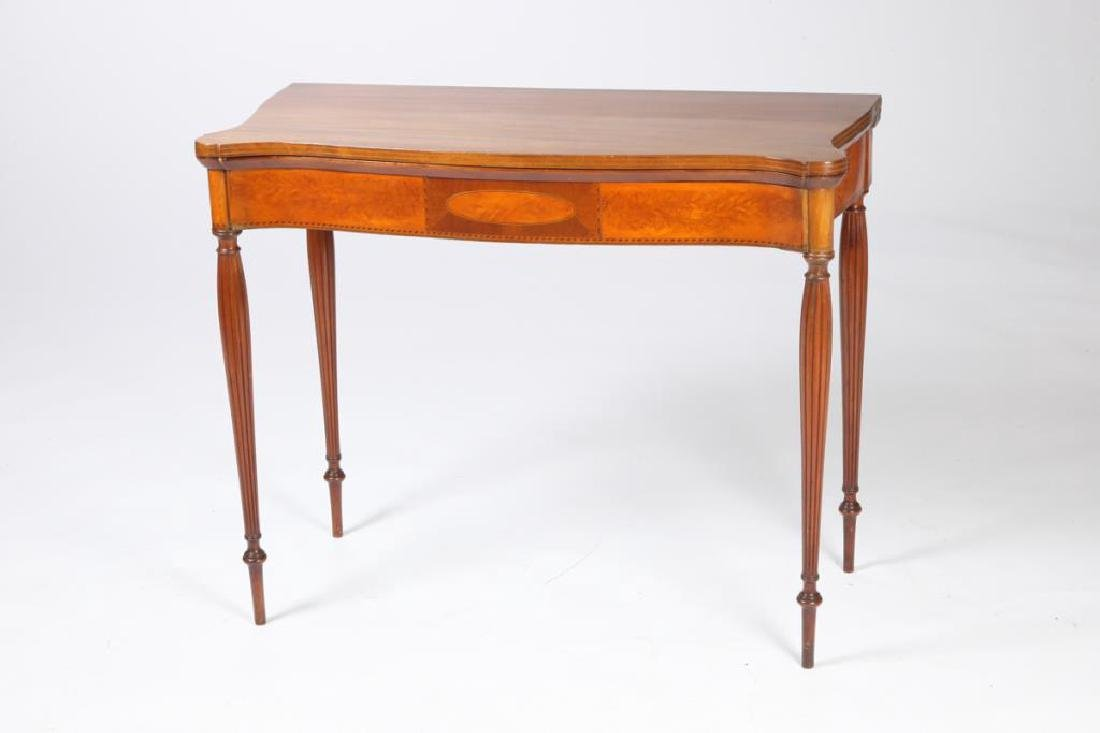 FEDERAL FLAMING BIRCH and MAHOGANY CARD TABLE - 6
