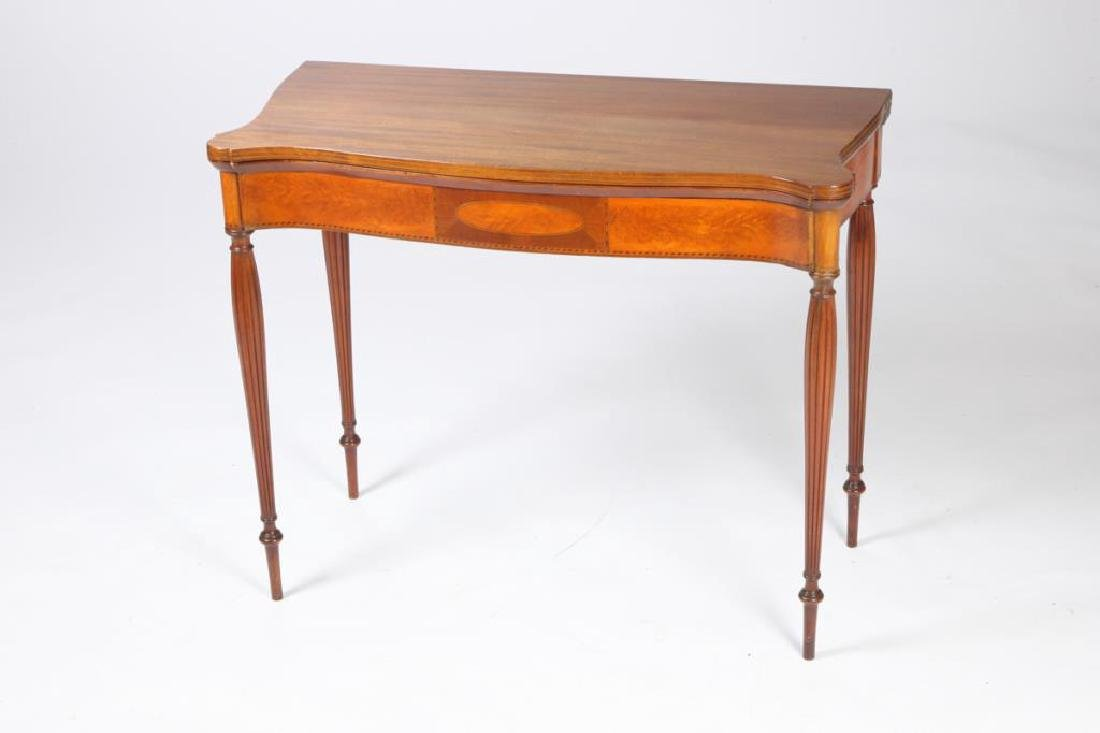 FEDERAL FLAMING BIRCH and MAHOGANY CARD TABLE - 7