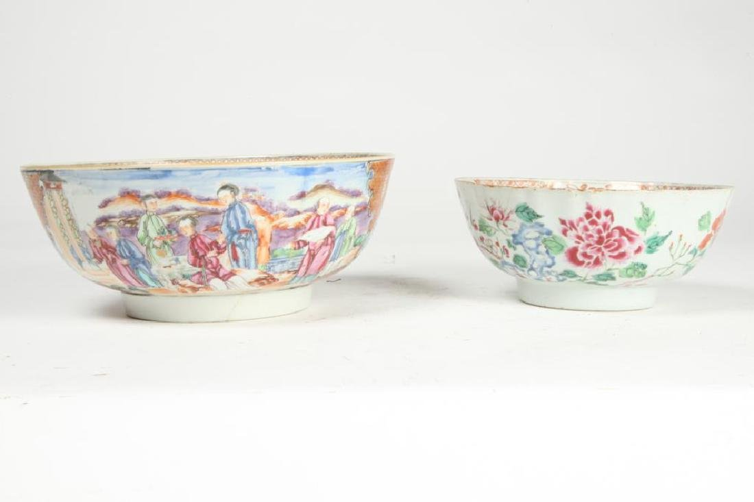 (2) CHINESE EXPORT PORCELAIN PUNCH BOWLS
