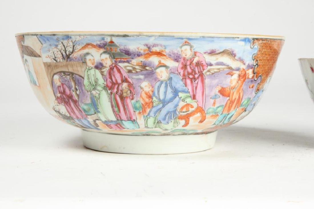 (2) CHINESE EXPORT PORCELAIN PUNCH BOWLS - 6