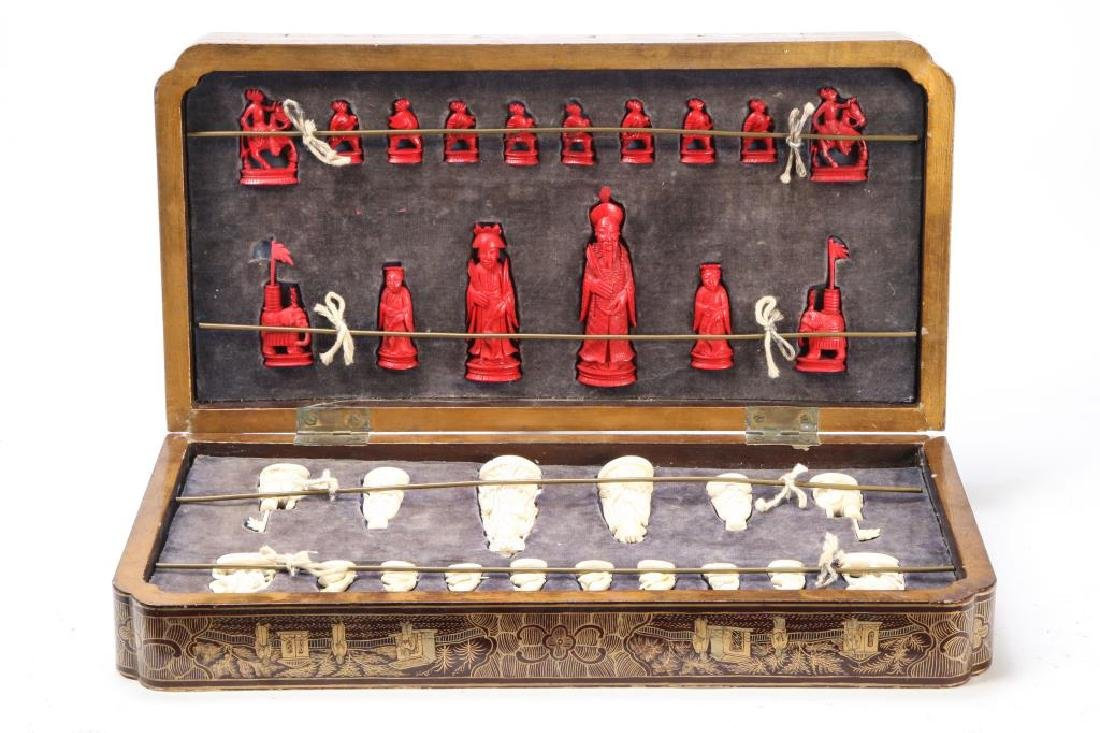 ANTIQUE CHINESE EXPORT CHESS SET - 8