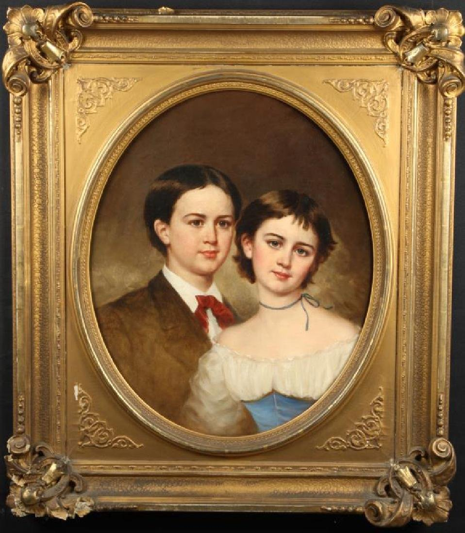 AMERICAN SCHOOL (19th c) DOUBLE PORTRAIT